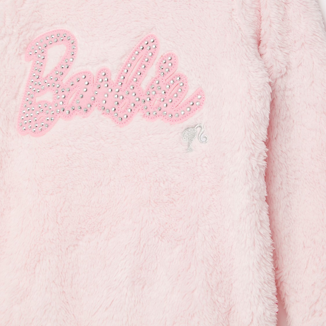 Barbie Round Neck Fur Sweat Top with Embellishments and Long Sleeves