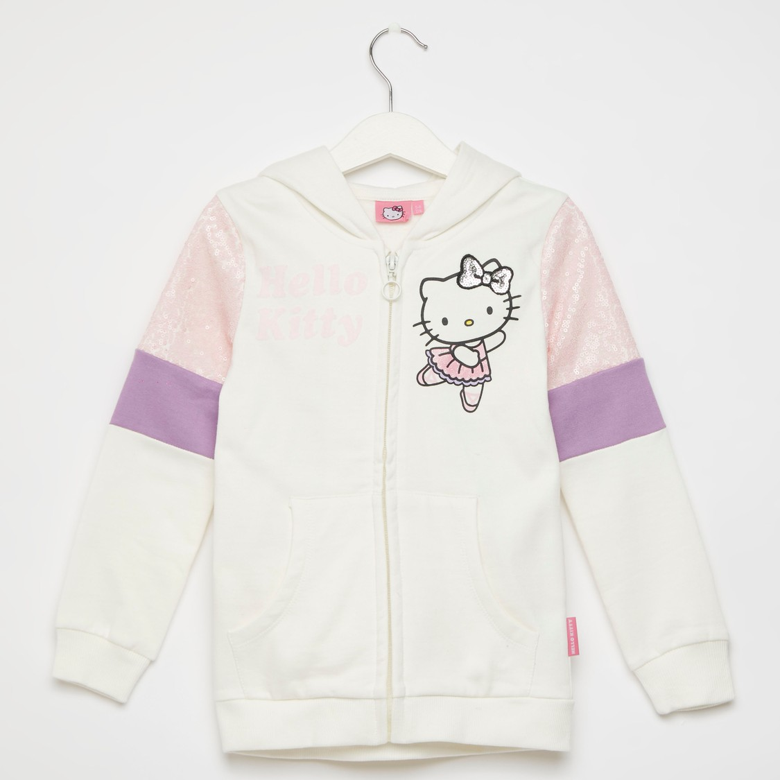 Hello Kitty Embellished Hoodie with Long Sleeves