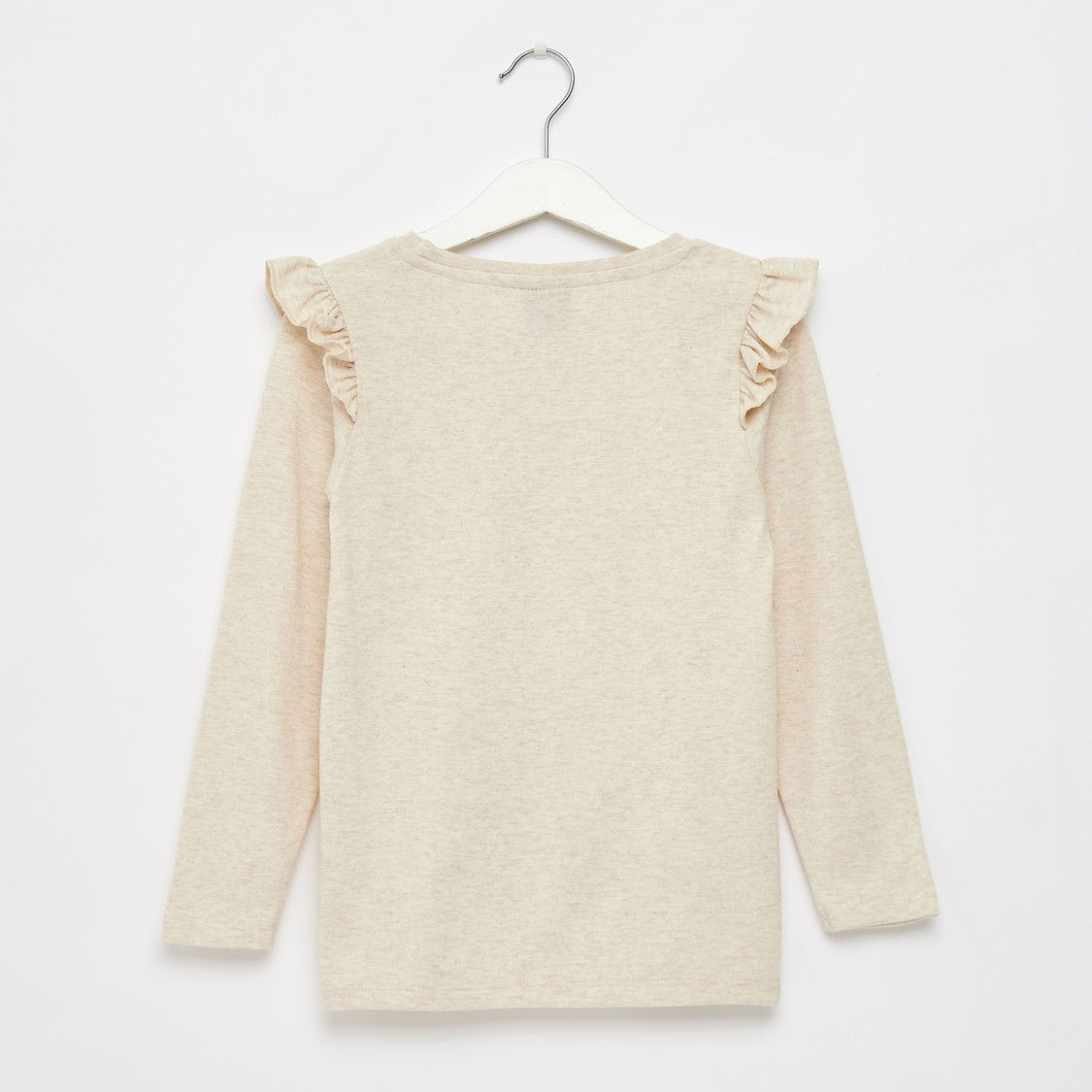 Peanuts Print Round Neck T-shirt with Long Sleeves and Ruffles