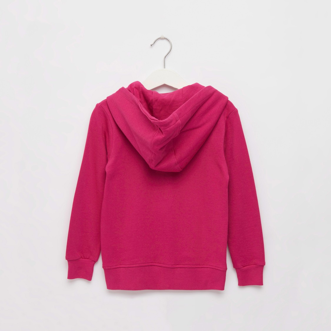 Printed Hoodie Jacket with Long Sleeves and Zip Closure