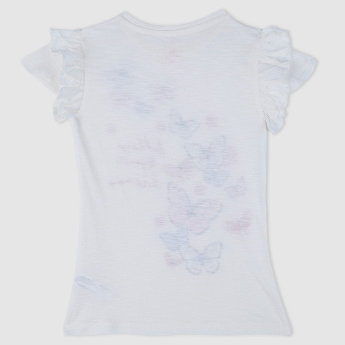 Butterfly Print Short Sleeves T-Shirt with Frill Detailing