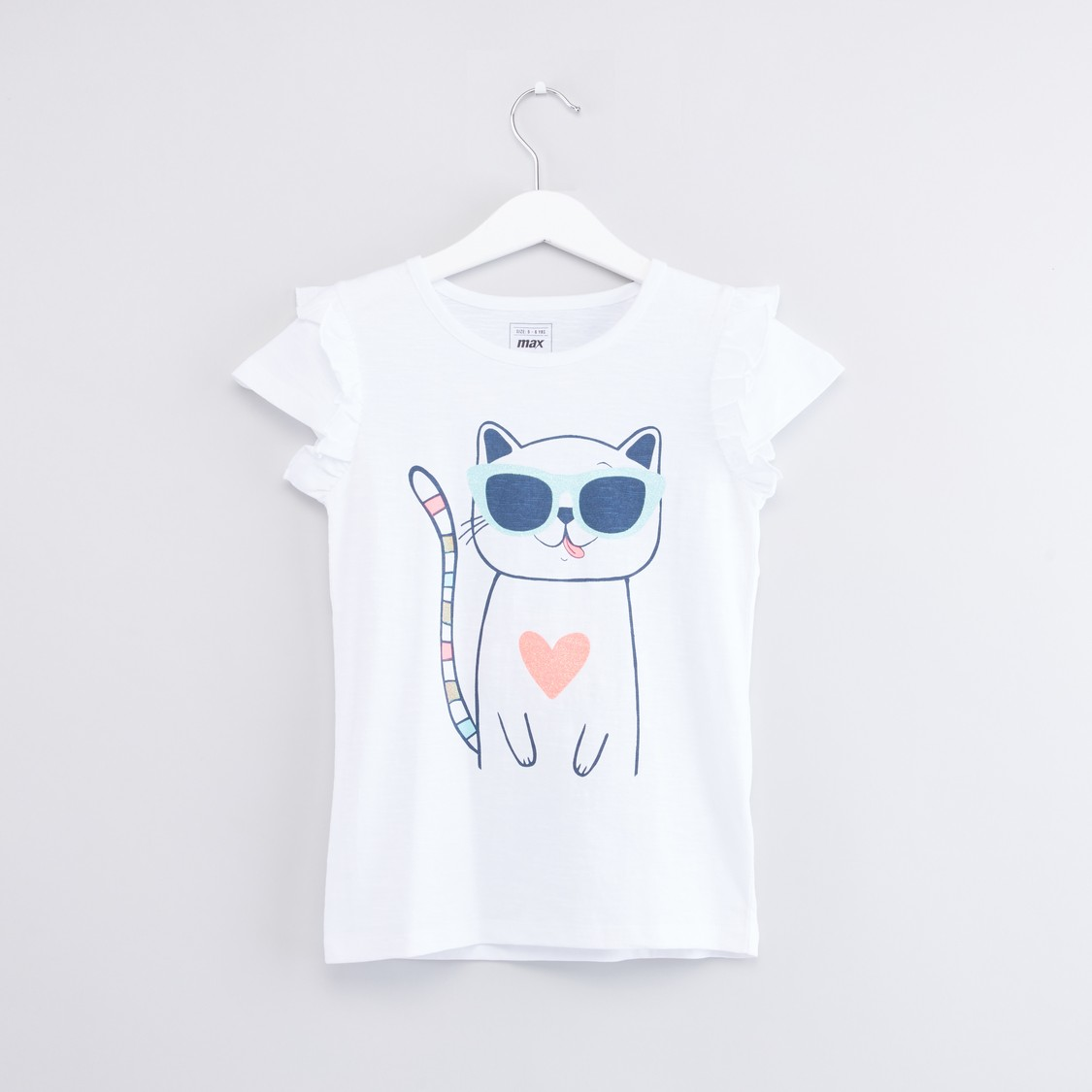 Graphic Printed T-shirt with Ruffled Cap Sleeves