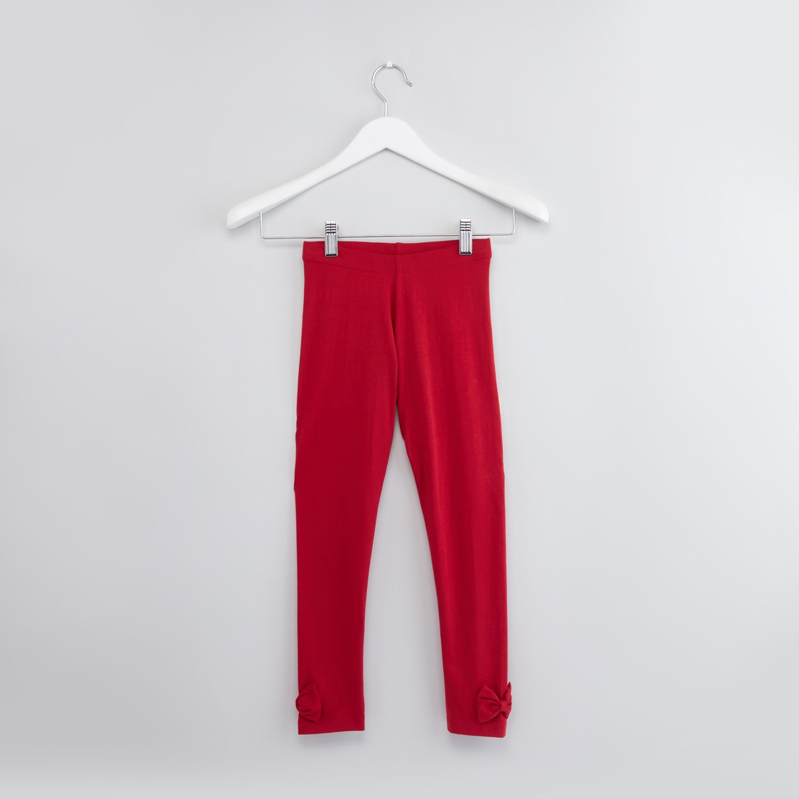 Textured Leggings with Bow Applique and Elasticised Waistband