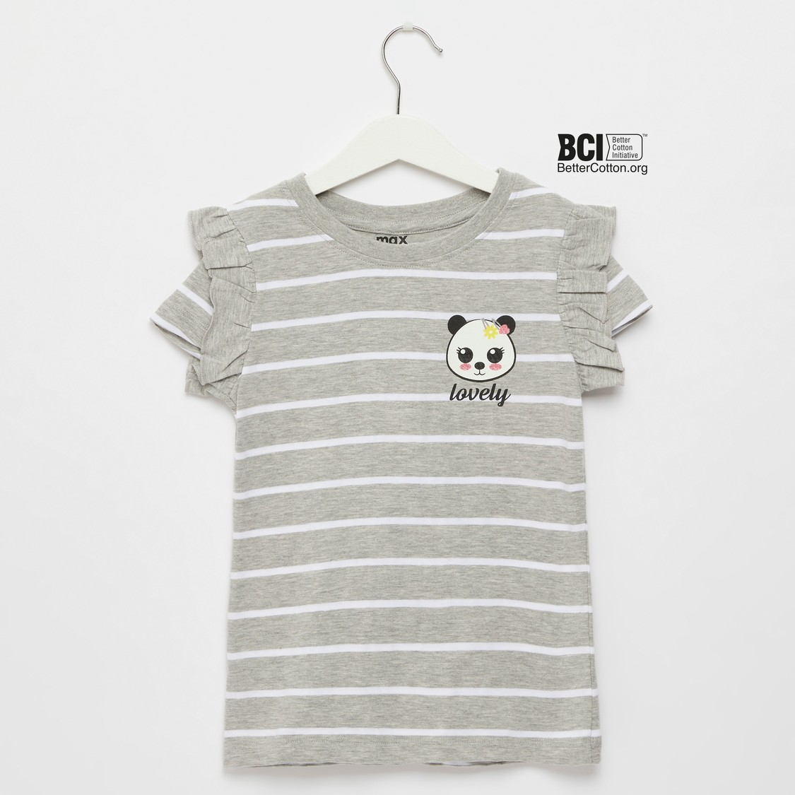 Striped Panda T-shirt with Cap Sleeves and Frill Detail