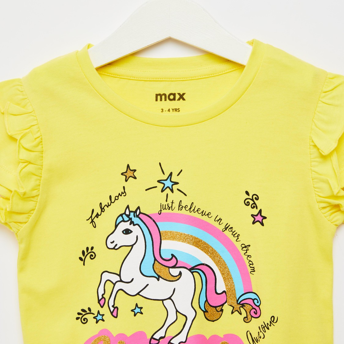 Unicorn Print T-shirt with Cap Sleeves and Ruffle Detail