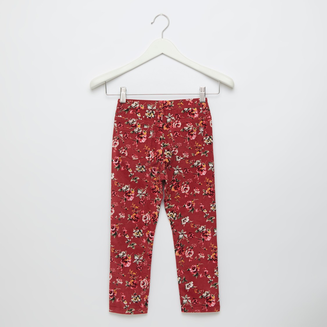 Floral Print Trousers with Pockets and Button Closure