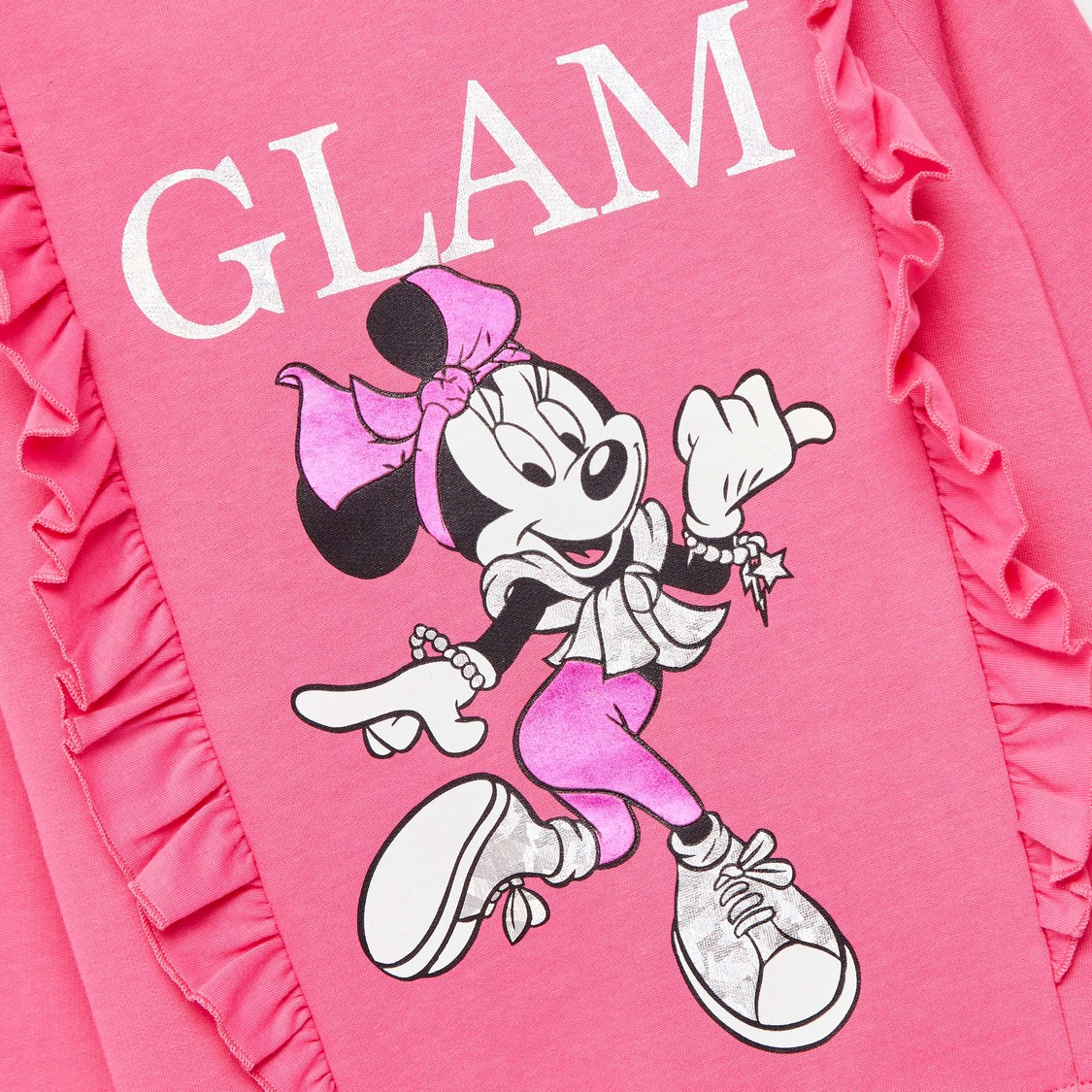 Minnie Mouse Print Sweatshirt with Long Sleeves and Ruffles