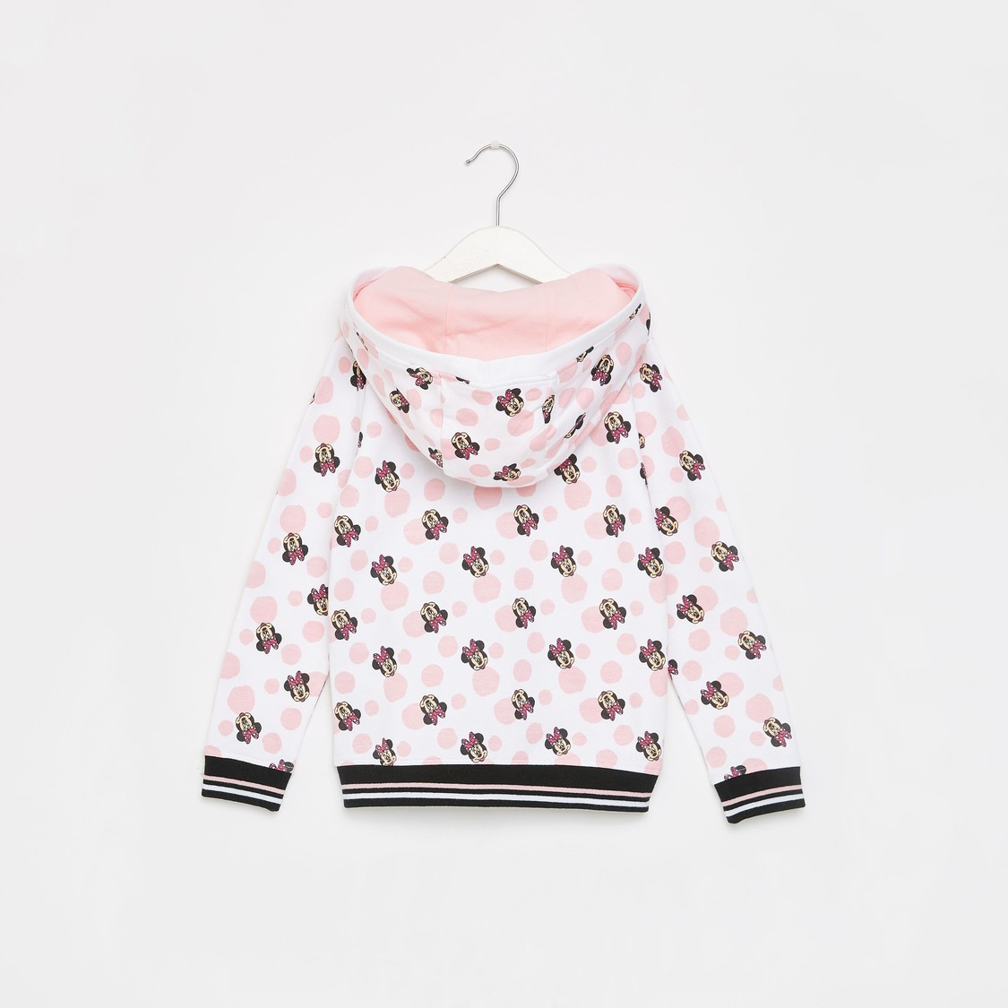 Minnie Mouse Print Jacket with Hood and Long Sleeves