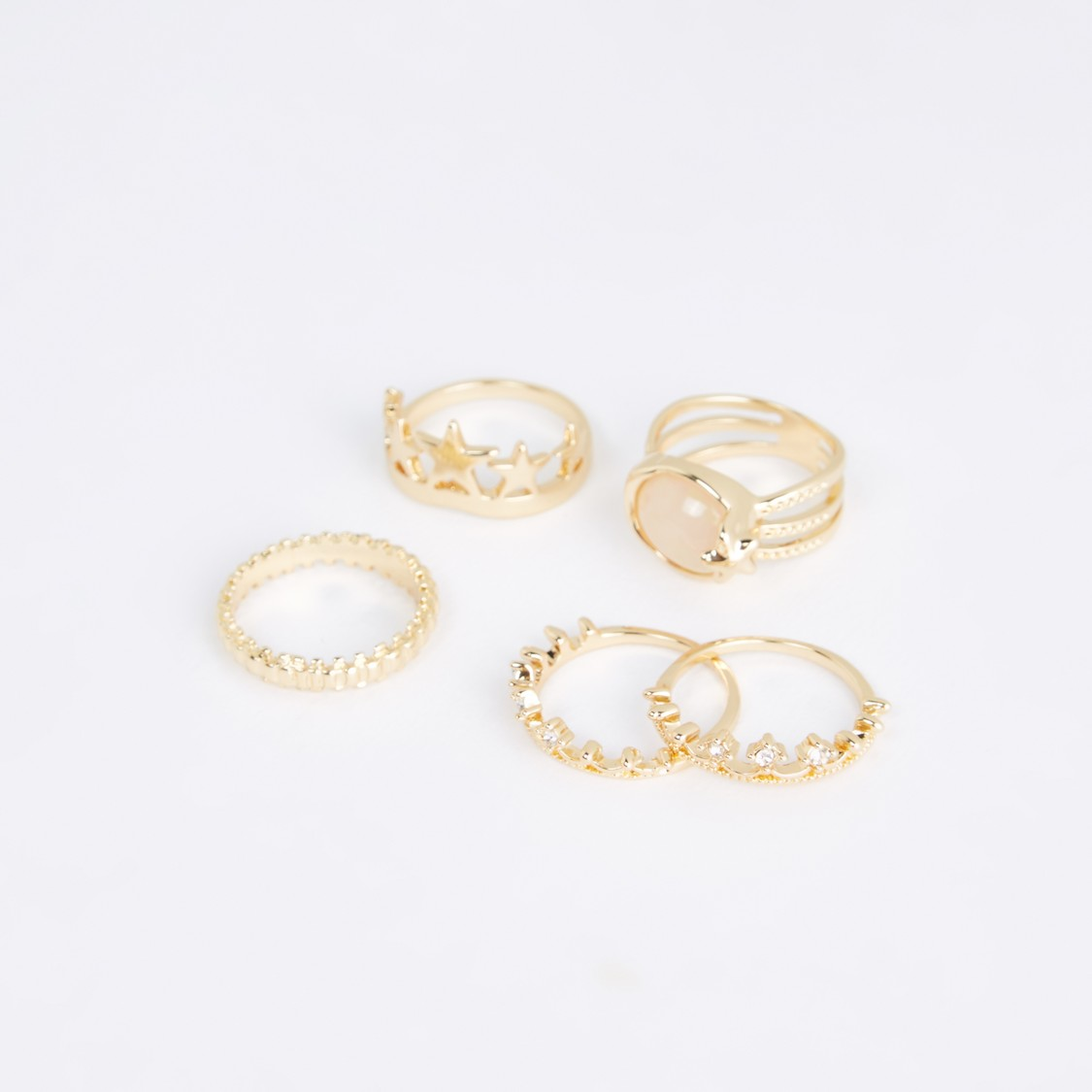 Metallic Finger Ring - Set of 5