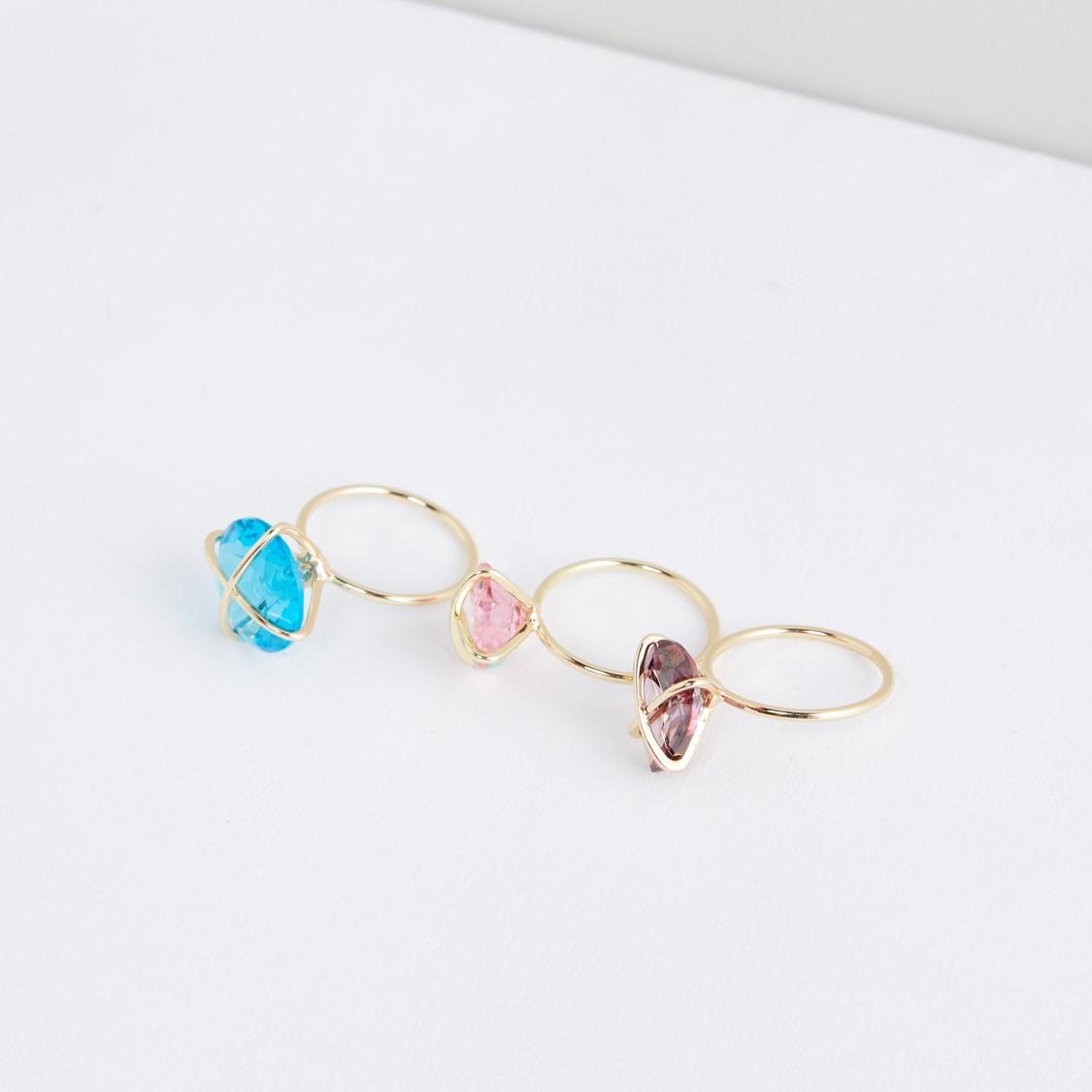 Studded Finger Ring - Set of 3