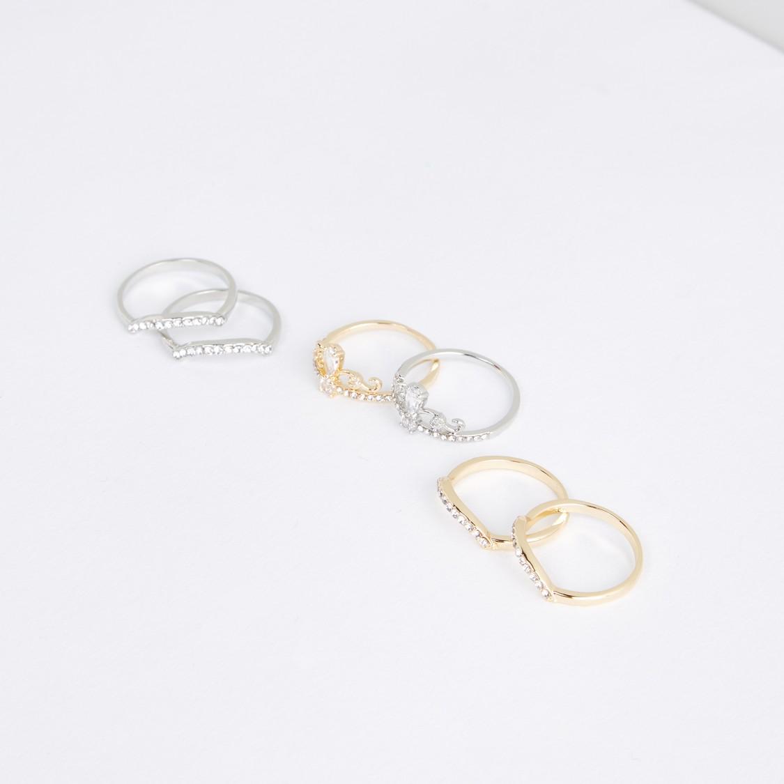 Studded Finger Ring - Set of 6