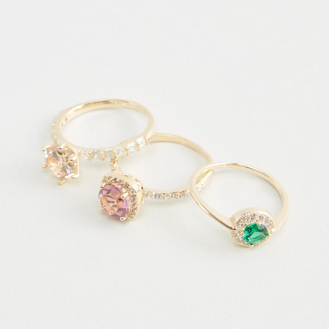 Set of 3 - Studded Metallic Finger Rings