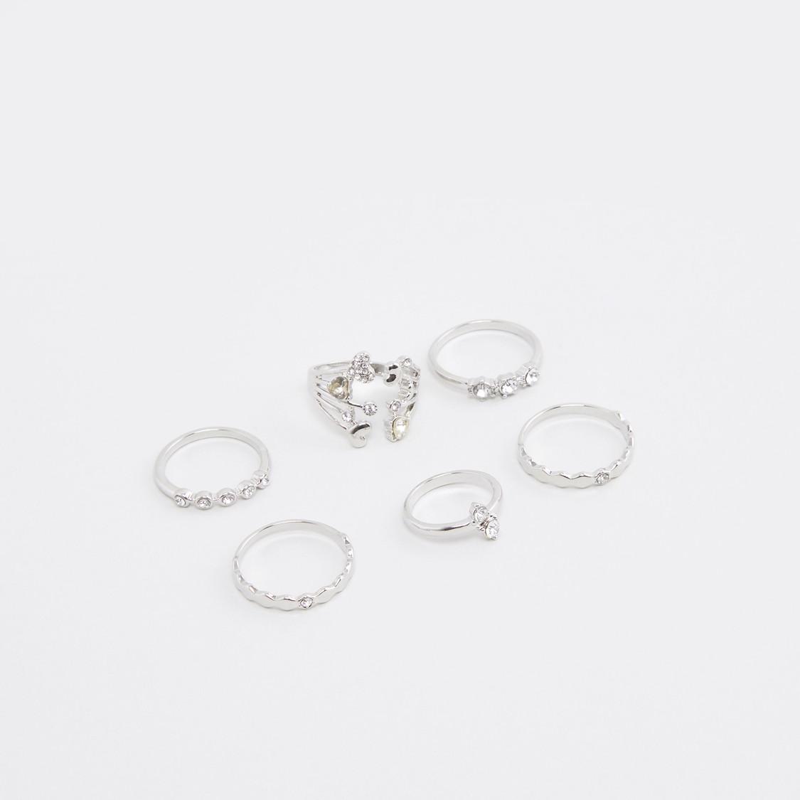 Set of 6 - Studded Metallic Finger Rings