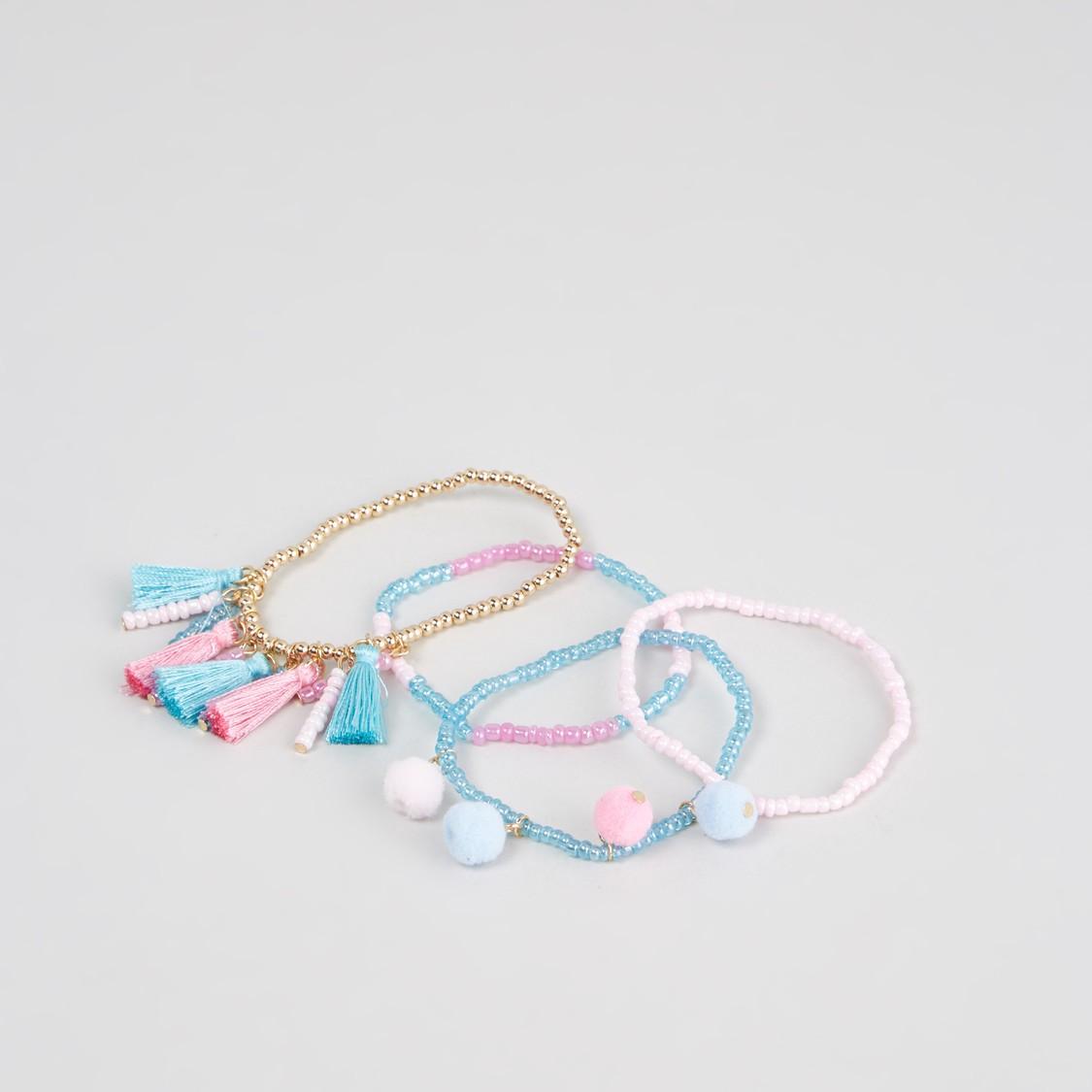 Set of 4 - Beaded Bracelets with Tassels and Pom Pom Detail