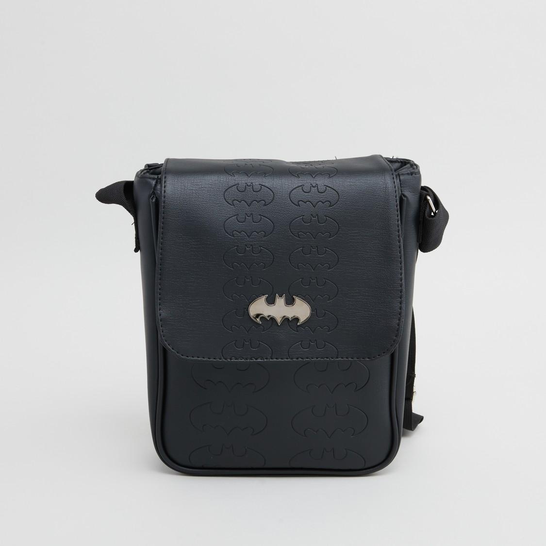 حقيبة ماسنجر بارزة الملمس بحمّالة قابلة للتعديل وطبعات باتمان