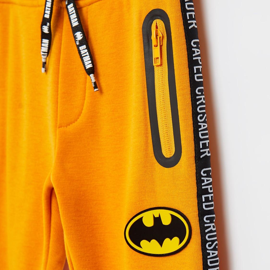 Full Length Batman Print Joggers with Drawstring Closure and Pockets