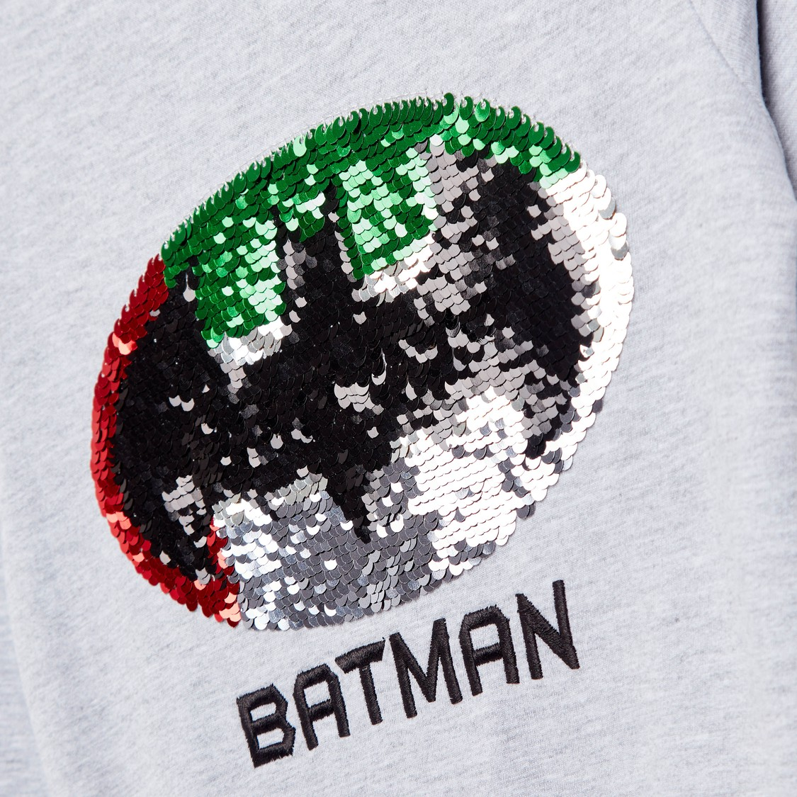 Sequin Detail Batman Sweatshirt with Round Neck and Long Sleeves