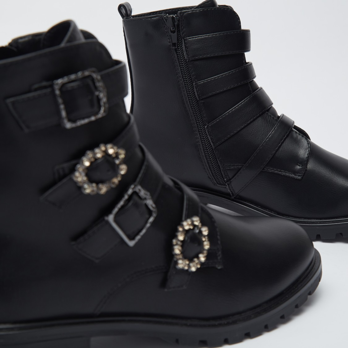 Stone Studded Ankle Boots with Zipper Closure