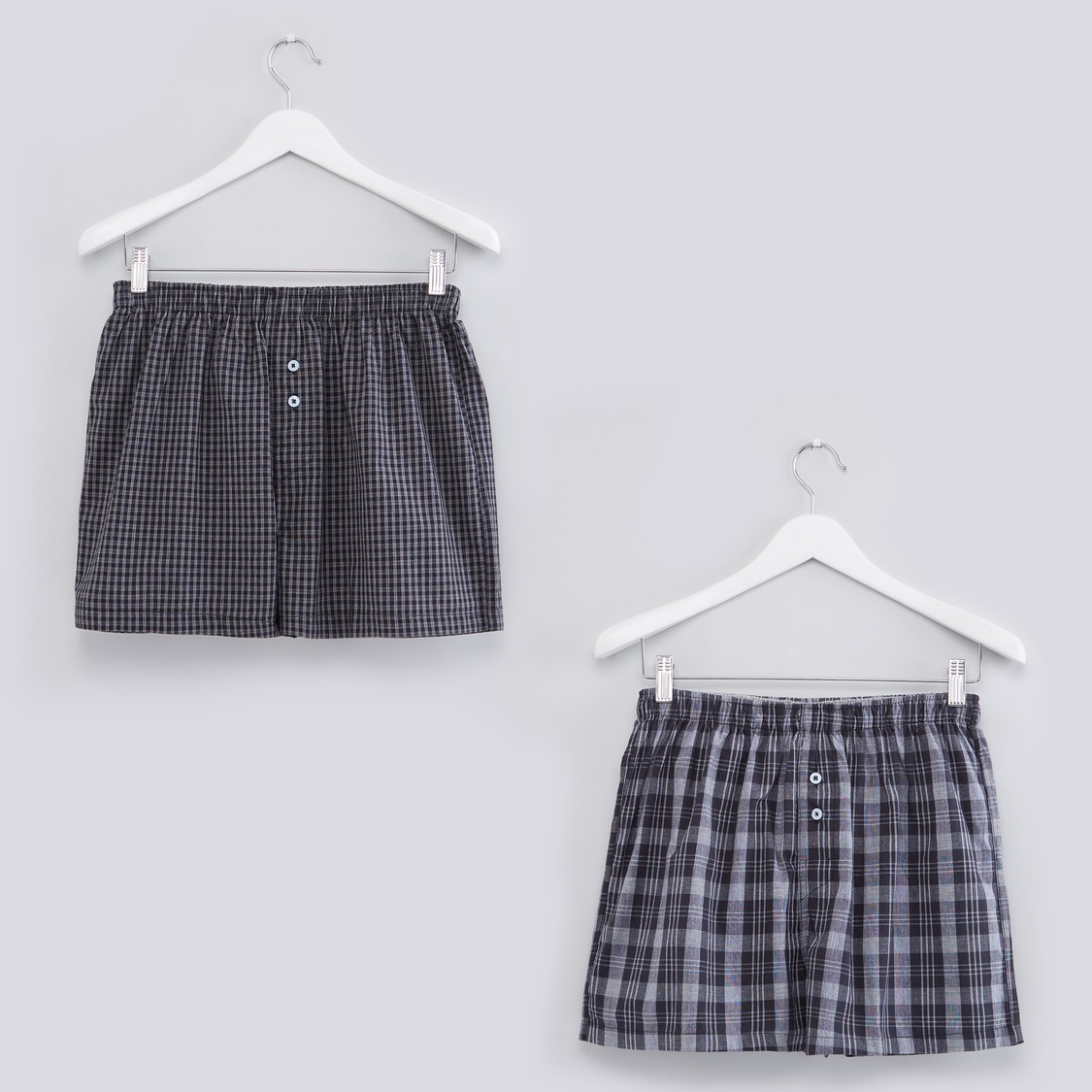 Chequered Boxers with Elasticised Waistband - Set of 2