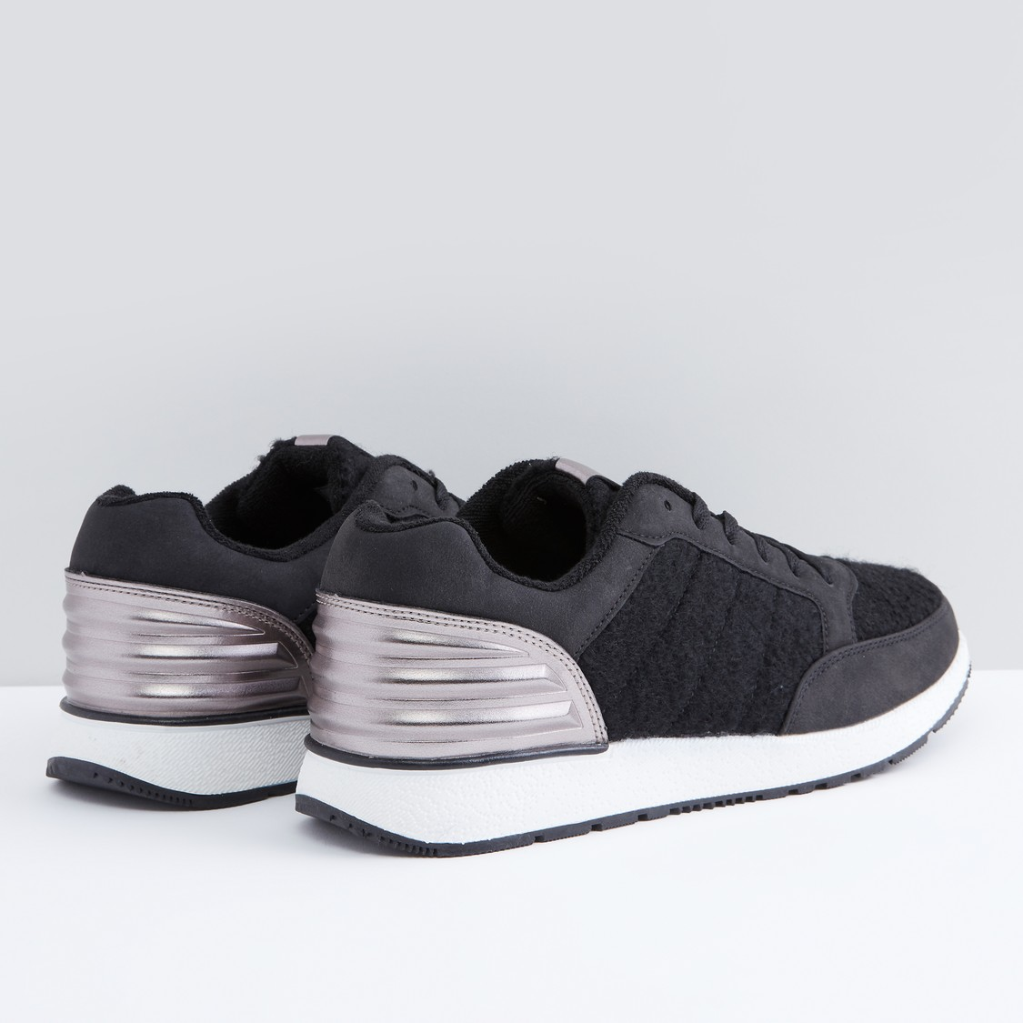 Textured Lace-Up Sneakers with Metallic Detail