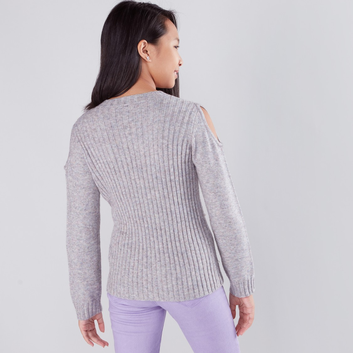 Pearl and Cutout Detail Long Sleeves Sweater