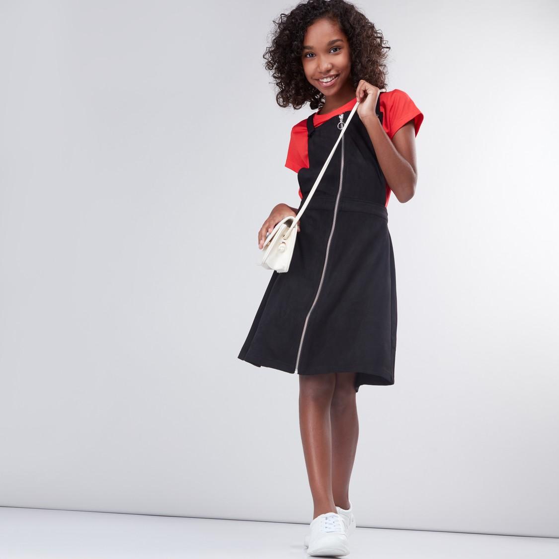 Zip Detail Pinafore Dress