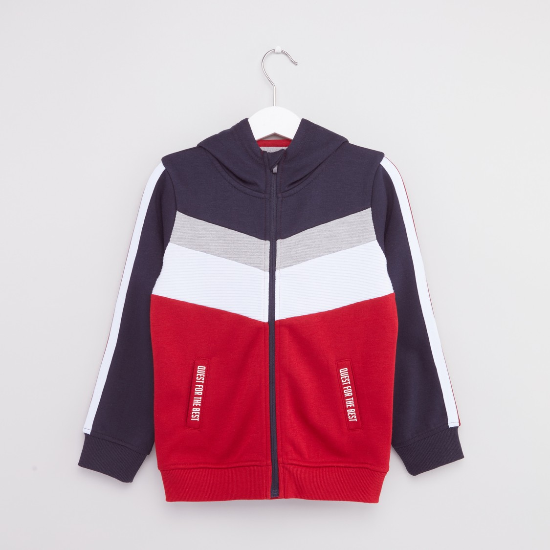 Panelled Long Sleeveed Hoodie with Zip Closure