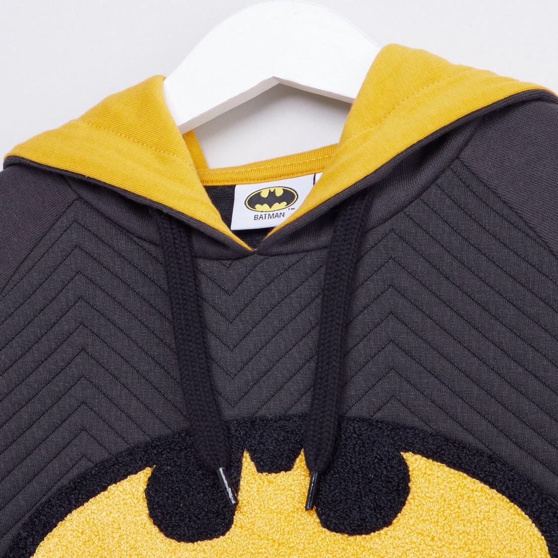 Batman Printed Hooded Sweatshirt with Long Sleeves