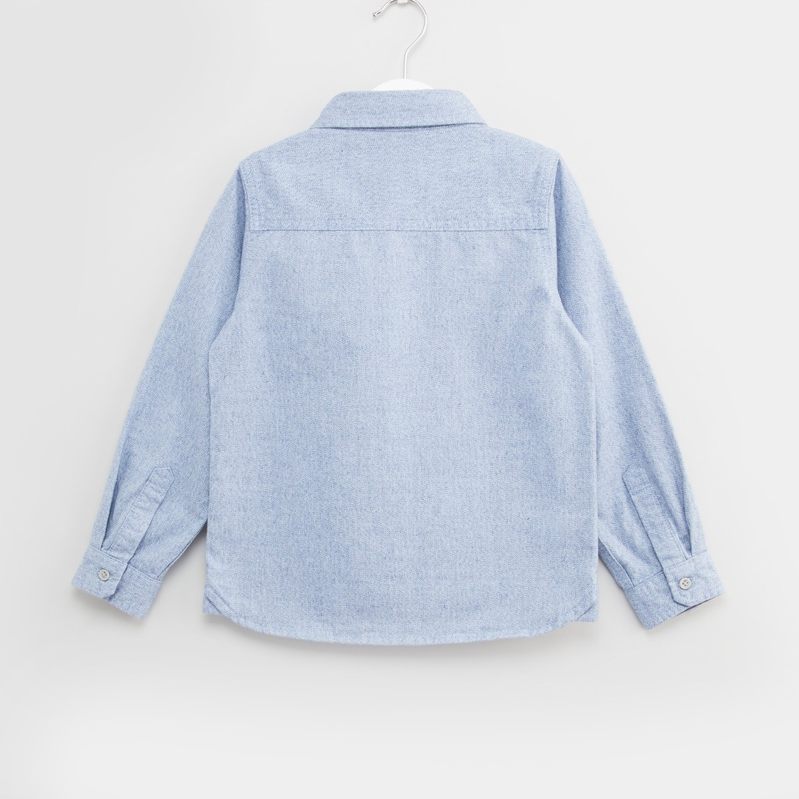 Textured Shirt with Long Sleeves and Chest Pocket