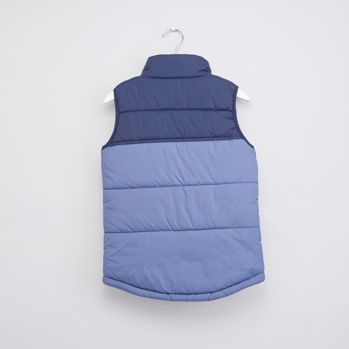 Printed Sleeveless Gilet with High Neck and Zip Closure