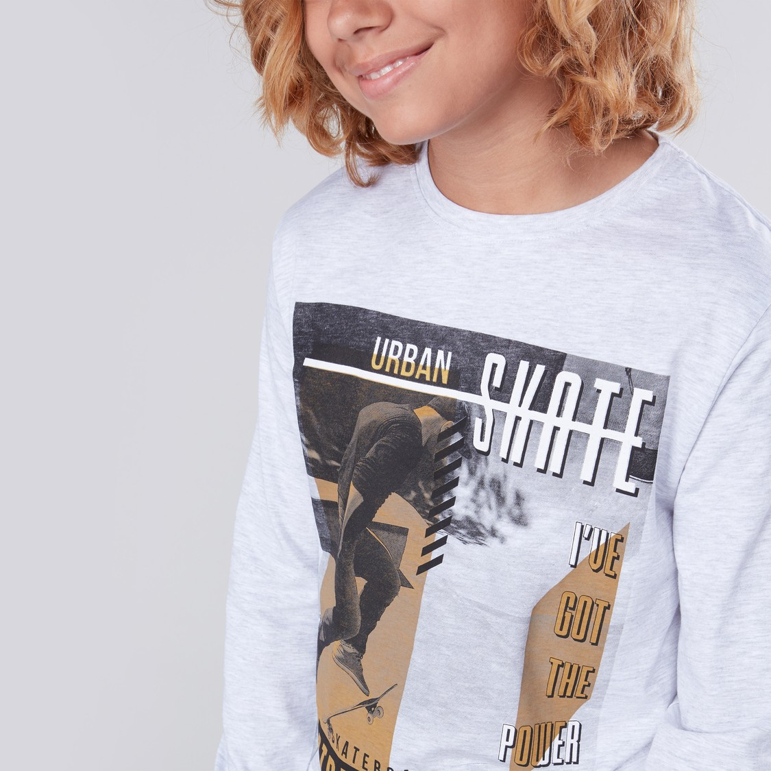 Graphic Printed Round Neck T-shirt with Long Sleeves
