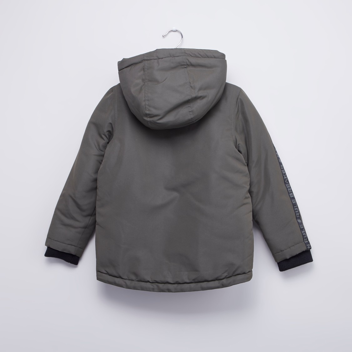 Hooded Jacket with Zip Detail and Long Sleeves