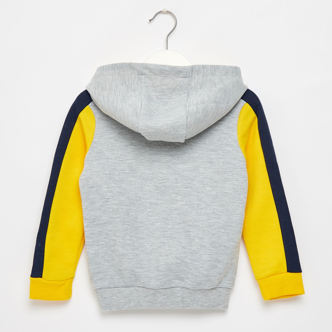 Colour Blocked Hoodie with Long Sleeves and Kangaroo Pockets
