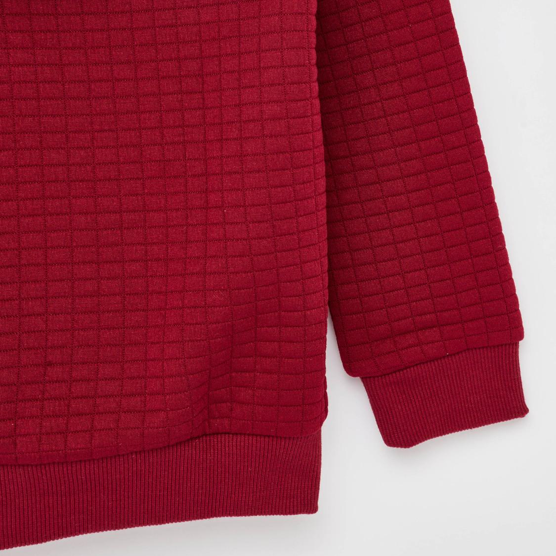 Textured Hoodie with Long Sleeves and Kangaroo Pocket