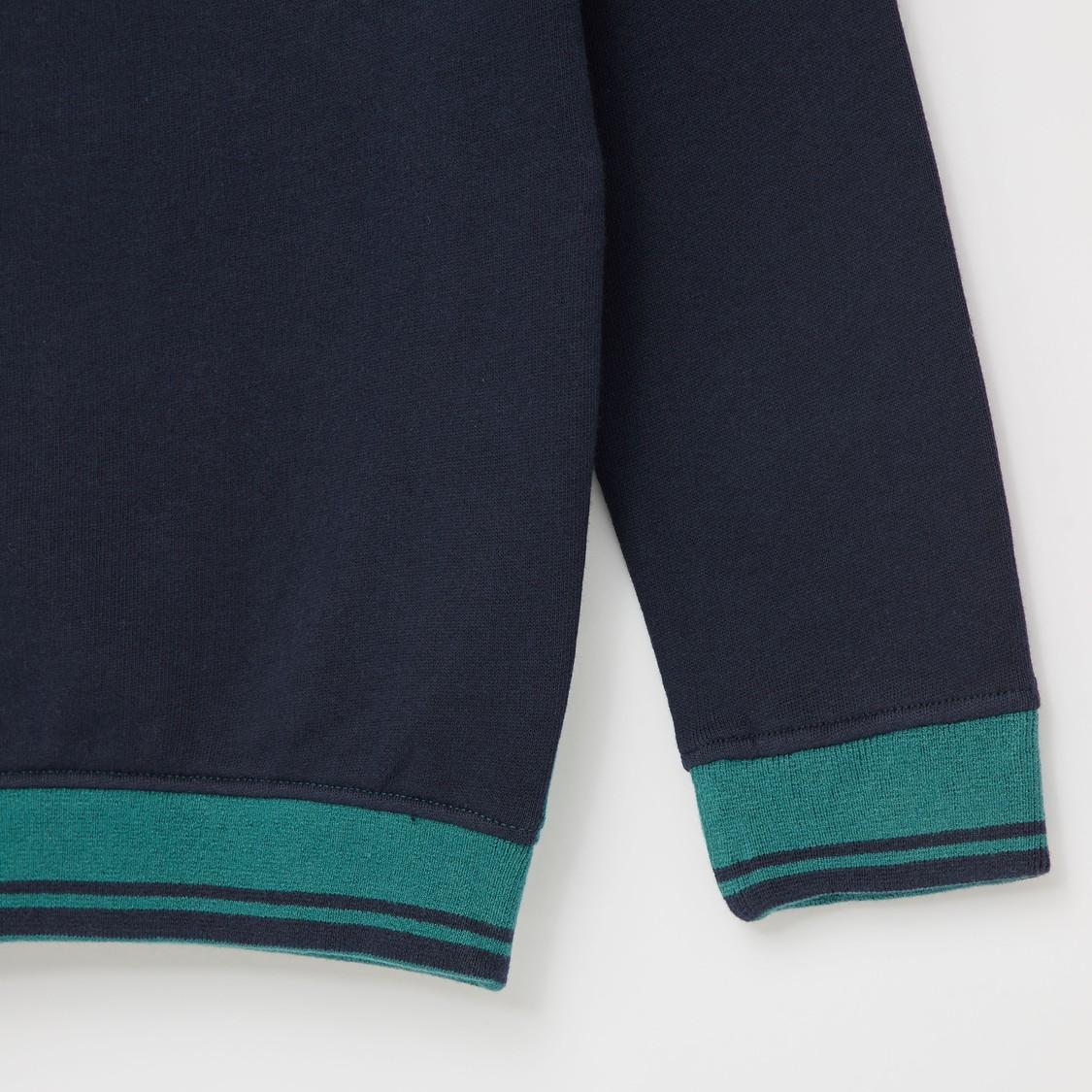 Printed High Neck Sweatshirt with Long Sleeves and Zip Closure