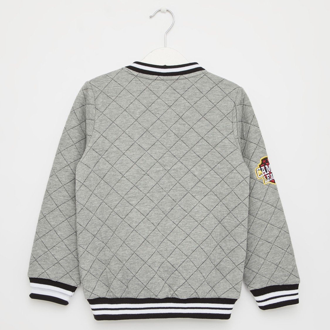 Quilted Bomber Jacket with Collared Neck and Long Sleeves