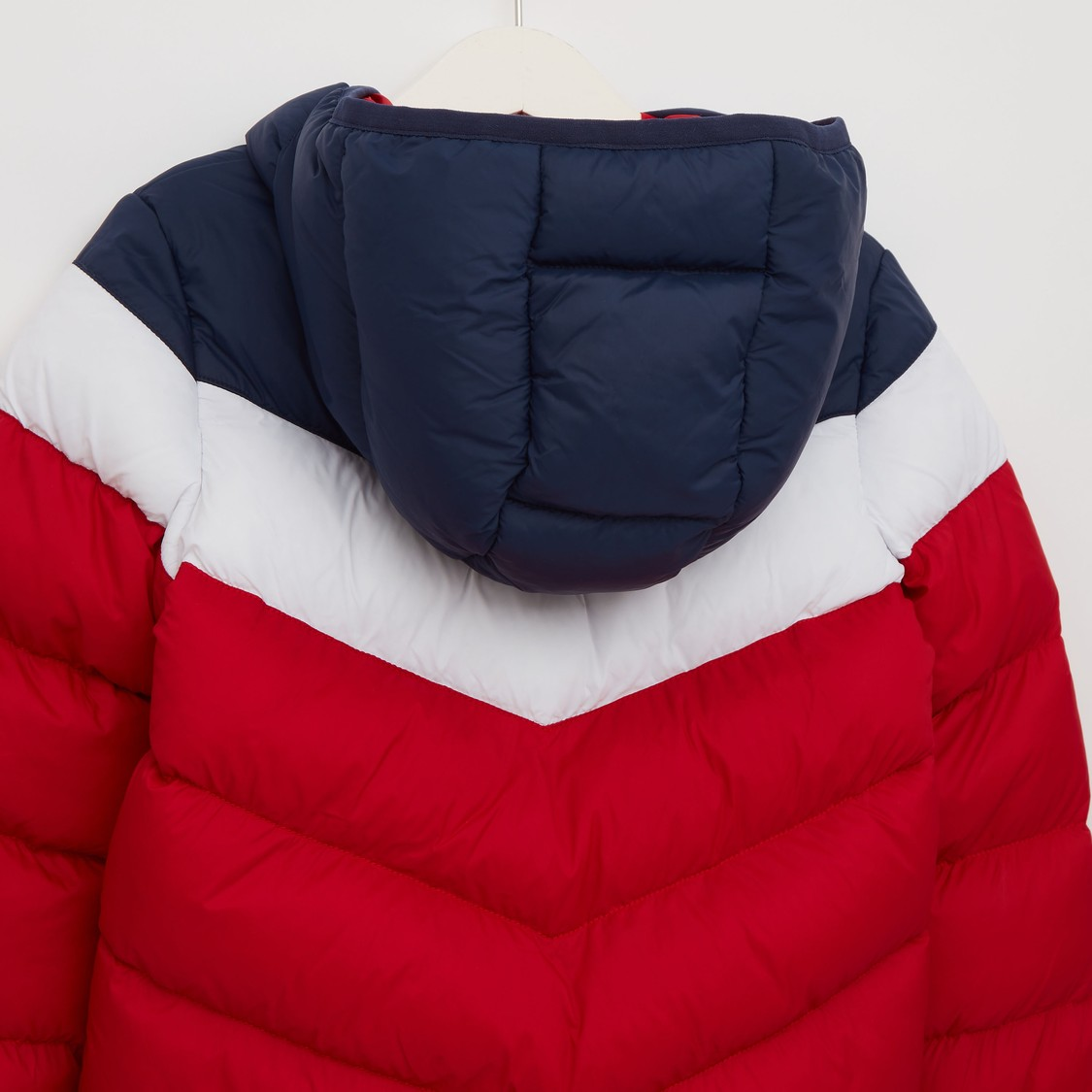 Panelled Hooded Jacket with Long Sleeves and Zip Closure