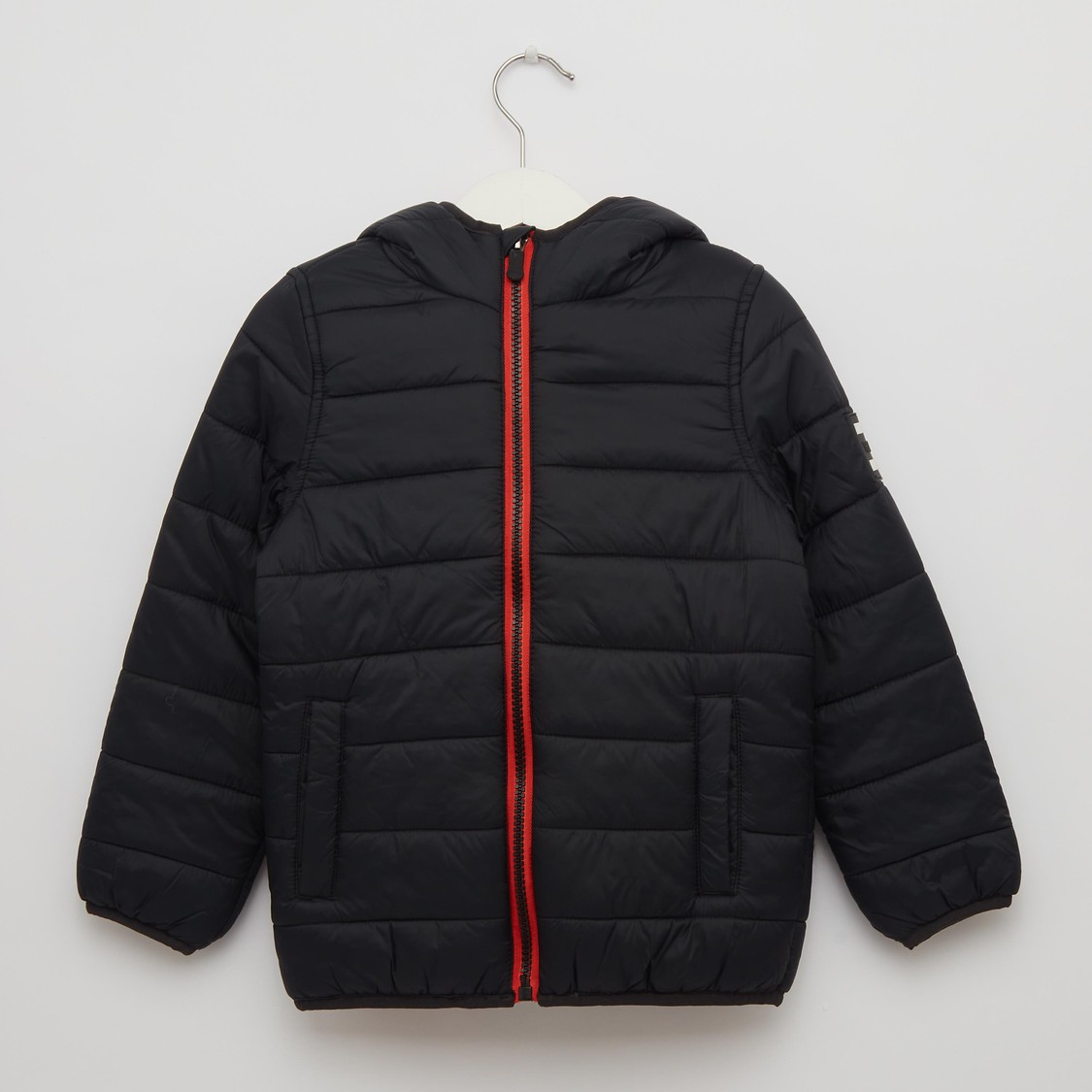 Solid Zip Front Puffer Jacket with Long Sleeves and Hood