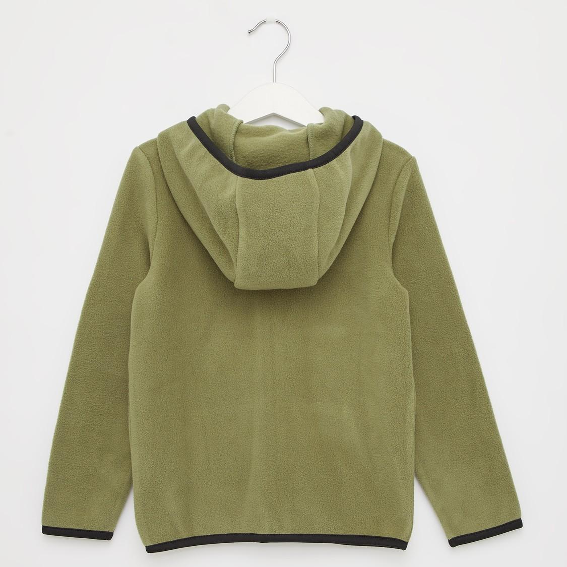 Embroidered Fleece Jacket with Long Sleeves and Hood