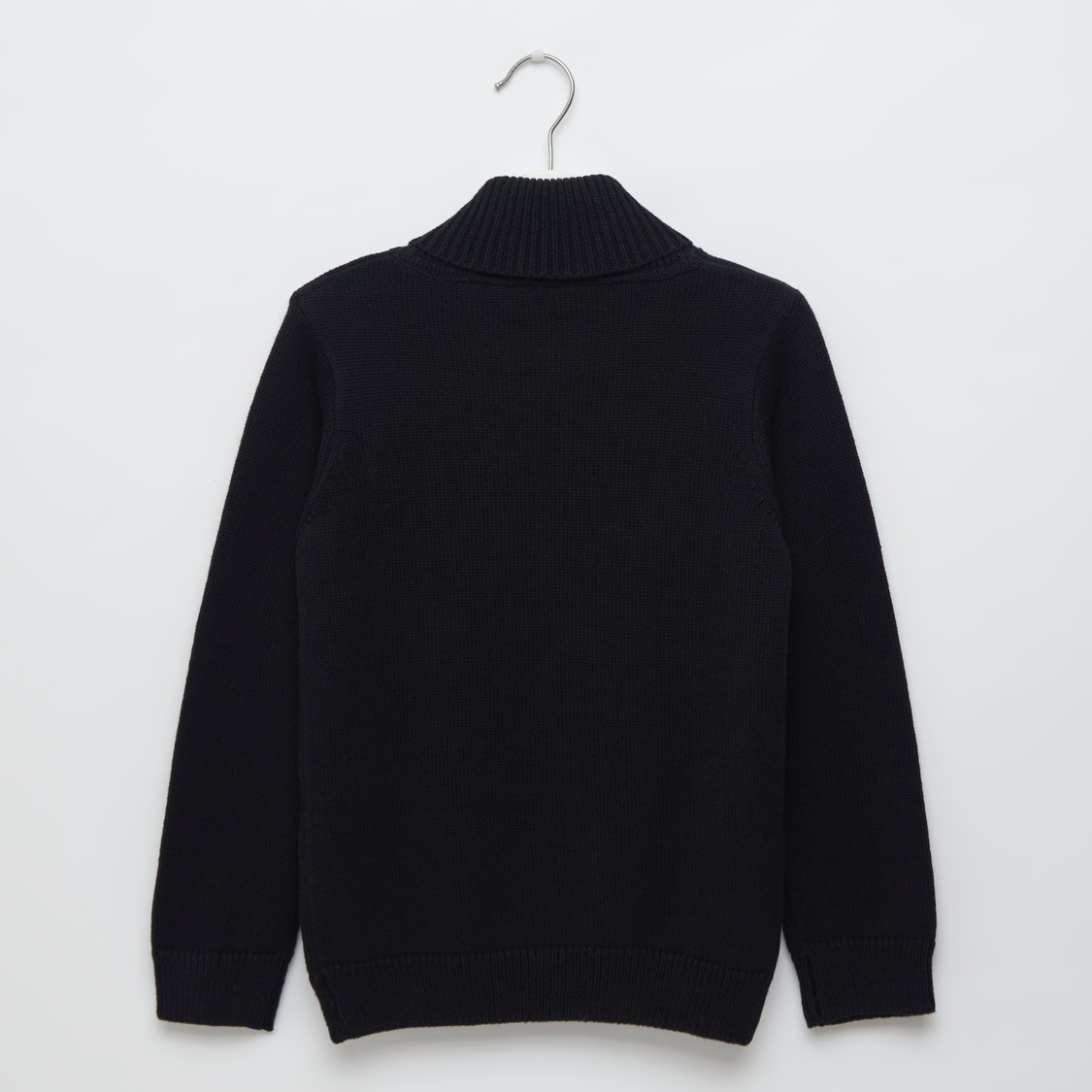 Embroidered Detail Sweater with High Neck and Long Sleeves