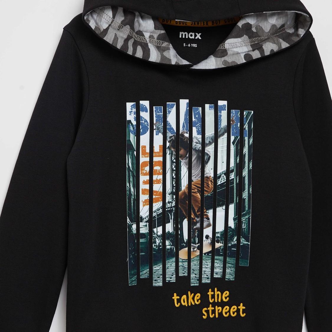 Digital Print Sweatshirt with Hooded Neck and Long Sleeves
