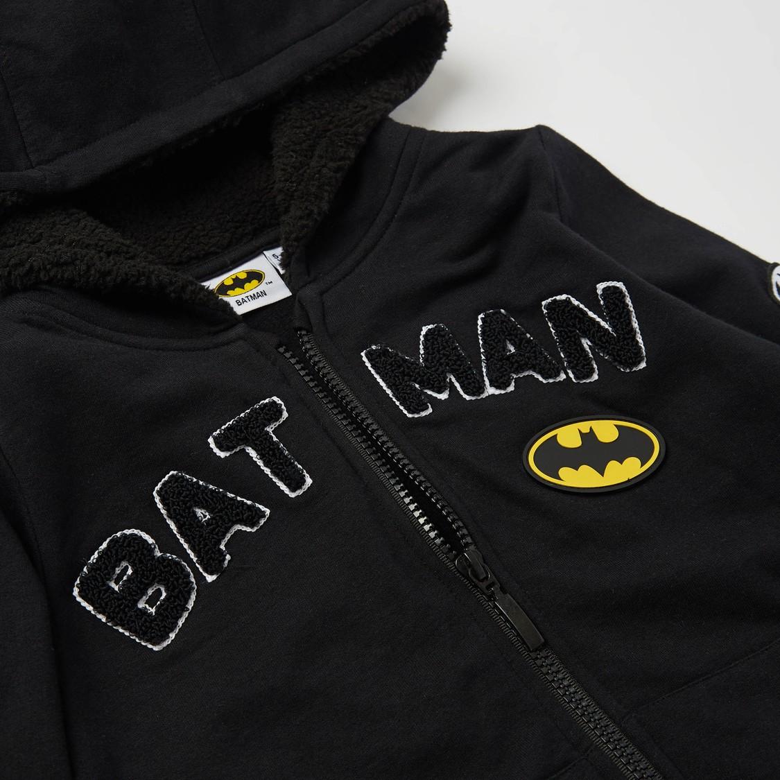 طقم هودي بشعار باتمان وبنطلون رياضي طويل