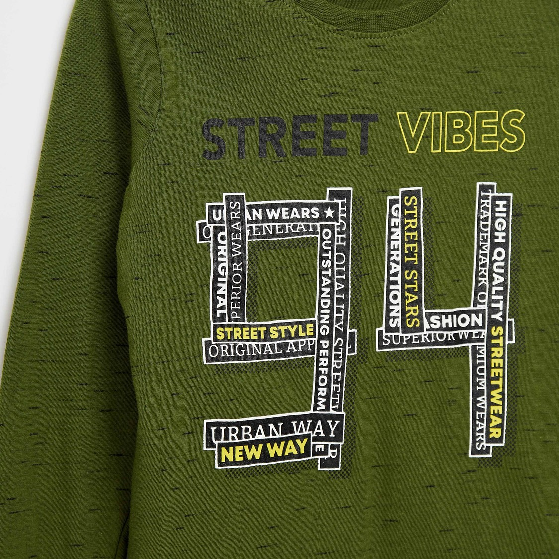 Typographic Print T-shirt with Round Neck and Long Sleeves