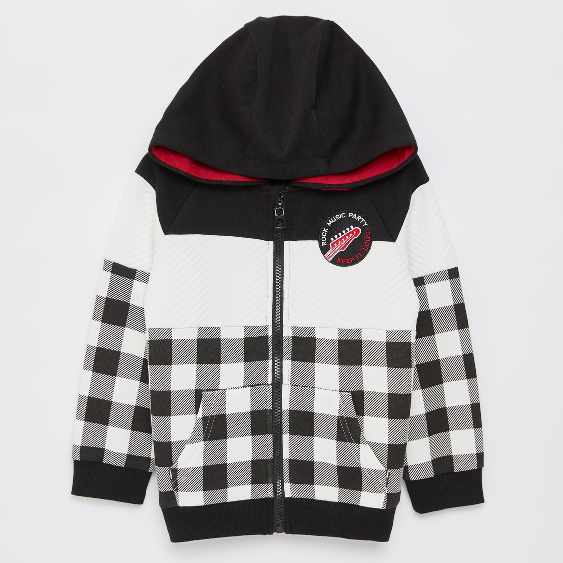 Checked Long Sleeves Jacket with Hooded Neck and Zip Closure