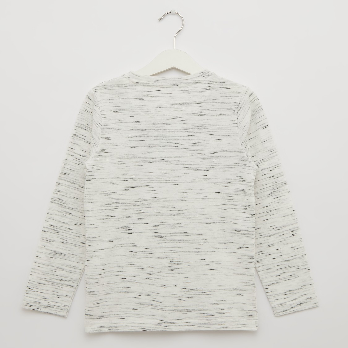 Printed T-shirt with Henley Neck and Long Sleeves
