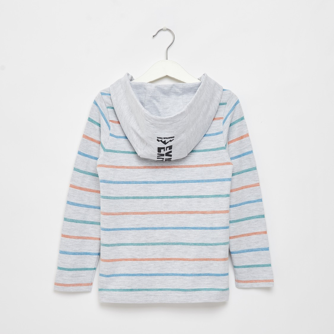 Striped T-shirt with Long Sleeves and Hood