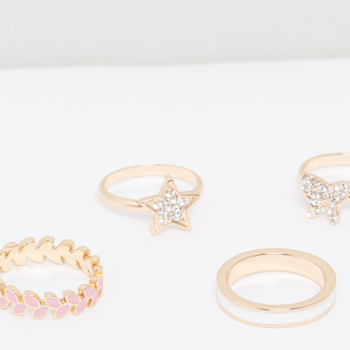 Metallic Finger Ring - Set of 4