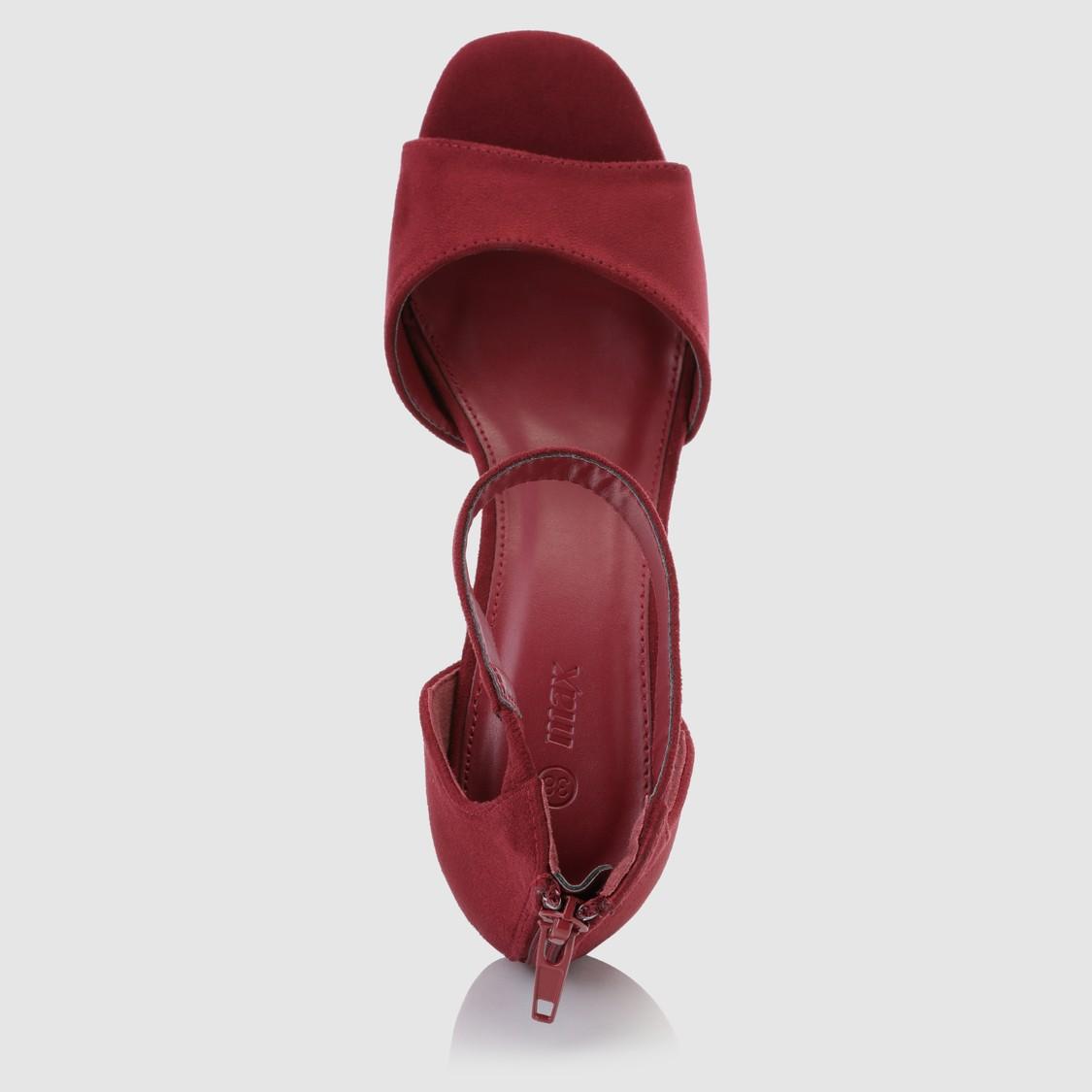 حذاء مطرّز بكعب عالي وسحّاب إغلاق