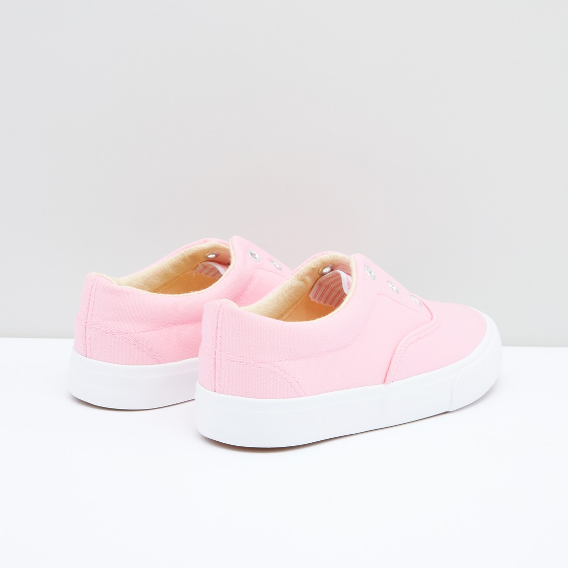 Eyelet Detail Slip-On Shoes