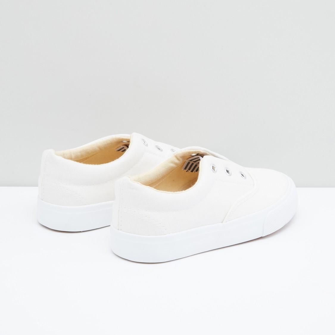 Eyelet Detail Slip-On Shoes